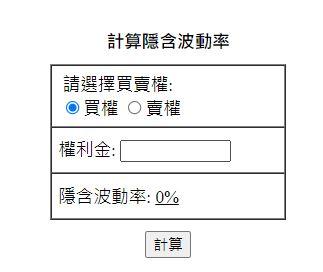 本站計算隱含波動率小視窗圖片