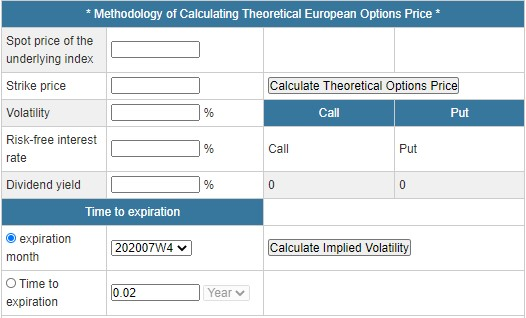 Calculating Theoretical Options Price function image