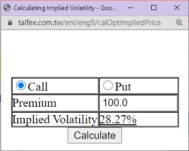 Caluate Implied Volatility function image